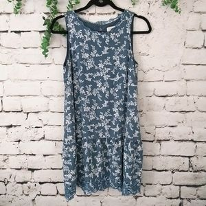 Loft Summer Floral Bird Eyelet Dress S